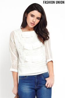 Fashion Union Embroidered Blouse