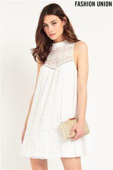 Fashion Union High Neck Lace Detail Dress