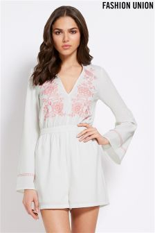 Fashion Union Embroidered Playsuit