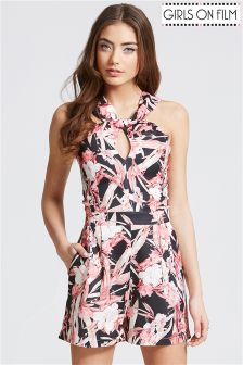 Girls On Film Print Crossed Strap Playsuit