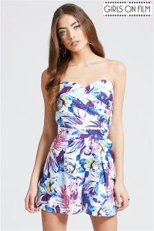 Girls On Film Printed Bandeau Playsuit