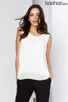 Boohoo White Pleated Back Chiffon Blouse