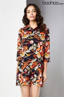 Boohoo Floral Print Shirt Dress