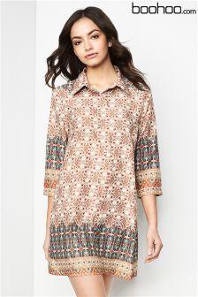 Boohoo Border Print Shirt Dress