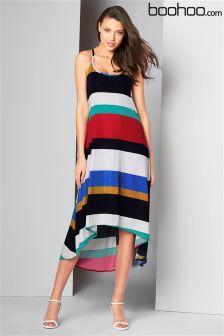 Boohoo Multi Strip Maxi Dress