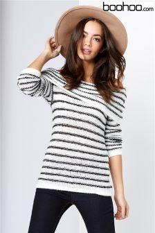 Boohoo Bardot Stripe Knitted Jumper