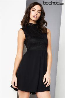 Boohoo Lace Overlay Dress