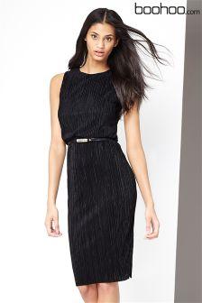 Boohoo Pleat Belted Dress