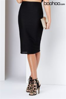 Boohoo Ribbed Midi Skirt