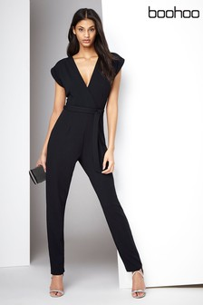 Boohoo Wrap Front Jumpsuit