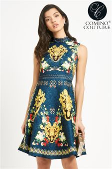 Comino Couture Beaded Vintage Printed Dress
