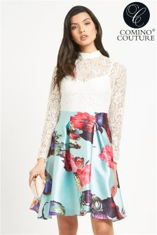 Comino Couture Contrast Lace Skater Dress