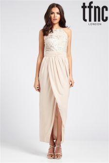 tfnc Highneck Top Sequin Maxi Dress
