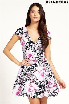 Glamorous V Neck Print Skater Dress