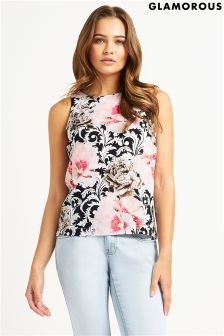 Glamorous Rose Printed Shell Top