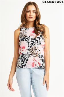 Glamorous Rose Printed Shell Top