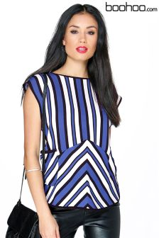 Boohoo Stripe Two Pocket Top