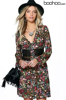 Boohoo Floral Print Crochet Dress