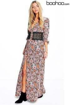 Boohoo Lace Waist Maxi Dress