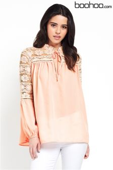 Pink Boohoo Ruffle Neck Lace Georgette Top