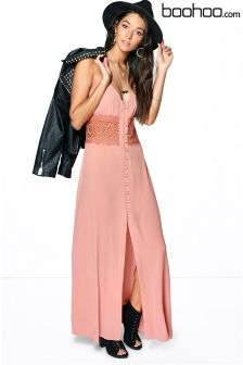 Boohoo Button Through Slip Dress