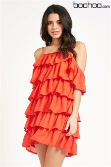 Boohoo Ruffle Cold Shoulder Strappy Dress