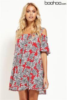 Boohoo Oriental Floral Print Cold Shoulder Dress