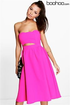 Boohoo Scallop Neck Prom Midi Dress