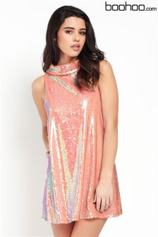 Boohoo Sequin High Neck Swing Dress