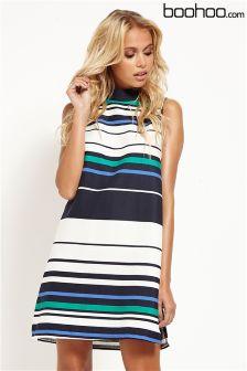Boohoo Wide Stripe Long Tunic Dress