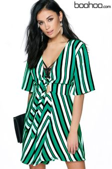 Boohoo Striped Tie Front Sleeve Dress