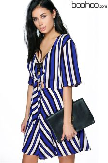 Boohoo Striped Tie Front Sleeve Dress