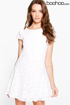 Boohoo Lace Up Skater Dress