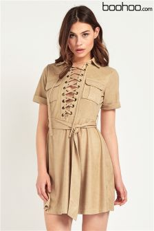 Boohoo Lace Up Suedette Belted Dress