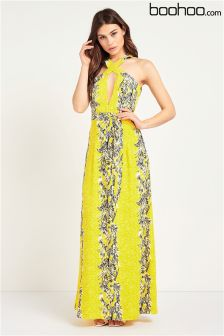 Boohoo Wrap Bodice Backless Floral Maxi Dress