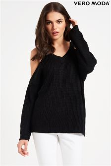 Vero Moda Long Sleeve Cold Shoulder V neck Jumper