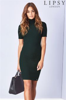 Lipsy Green Travelling Rib Knit Dress