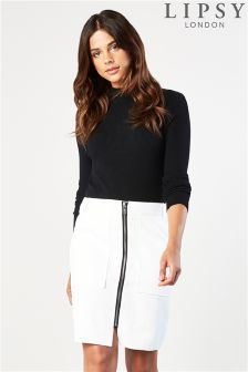 Lipsy Turtle Neck With Woven Skirt Dress