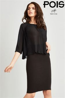 Pois Pleated Chiffon Blouse