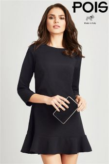 Pois 3/4 Sleeves Dress With Rouche Detailing