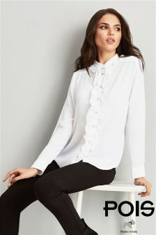 Pois Chiffon Blouse With Rouched Detailing