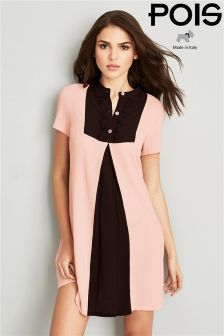 Pois Contrast Pleated Dress