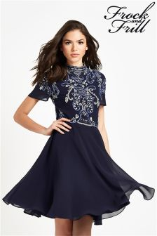 Frock And Frill Sequin High Neck Skater Dress