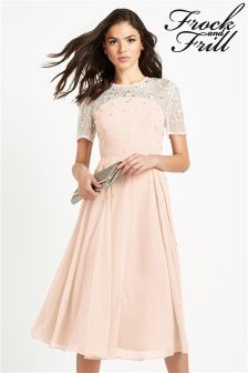 Frock And Frill Embellished Midi Skater Dress