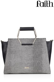 Faith Bags Metal Handle Snake Tote