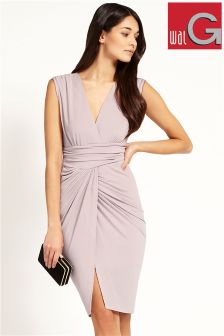 Wal G V Neck Pleated Midi Dress
