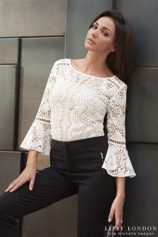 Lipsy Love Michelle Keegan Lace Bell Sleeve Blouse