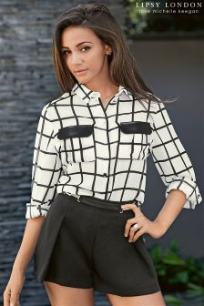 Lipsy Love Michelle Keegan Grid PU Pocket Blouse