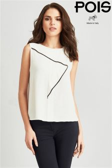 Pois Sleeveless Top With Contrast Detailing