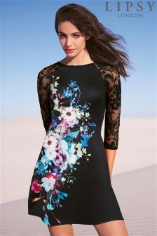 Lipsy Lace Sleeve Floral Skater Dress